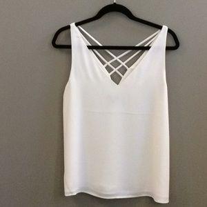 Express adorable cream sleeveless top, size medium